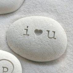 I love you Valentine gift stone  i heart u beach by sjengraving, $14.00