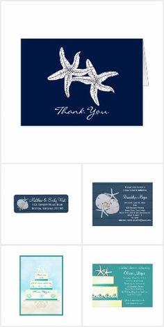 Starfish Wedding Invitation Set. These nautical wedding invitation sets / stationary / suites may include: Wedding invitation cards, wedding envelopes, wedding RSVP Cards, wedding address labels, save the dates, wedding programs, wedding thank you cards, rehearsal dinners and more matching wedding products.