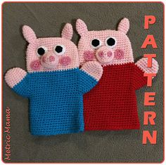 Peppa Pig Hand Puppet pattern by Nicole Davis - Suri Ben Felt Puppets, Glove Puppets, Crochet Amigurumi, Crochet Dolls, Octopus Crochet Pattern, Crochet Patterns, Crochet For Kids, Crochet Baby, Pig Crafts