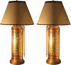 Antique copper and brass fire extinguisher lamps.