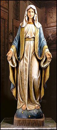 Our Lady of Grace Church Size Statue. All hand crafted, treated & painted European style statues, from the Basilica Church Statuary Collection..................... http://ReigningGifts.com/ReligiousStatues.htm