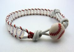 Lucy & Larry - jewelry designs for the slightly mischievous: New Items - BASEBALL Leather Wrap Bracelets