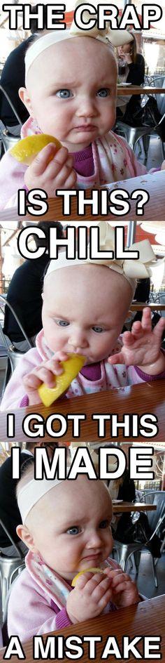 kid tasting lemon for the first time.