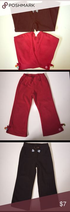 Gymboree fleece bottoms for girls in 3T A pair of gently used Gymboree bottoms in red and brown. They are super comfortable! Gymboree Bottoms Casual