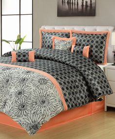 7 pc embroidery modern comforter set queen bed-in-a-bag orange