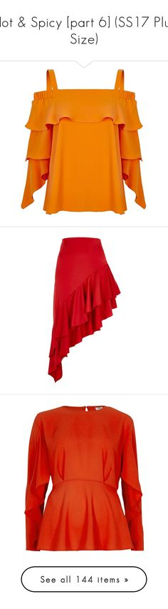 """""""Hot & Spicy [part 6] (SS17 Plus Size)"""" by foolsuk ❤ liked on Polyvore featuring tops, skirts, midi skirts, red, women, tall skirts, high-waisted skirts, red high waisted skirt, red knee length skirt and mid calf skirts"""