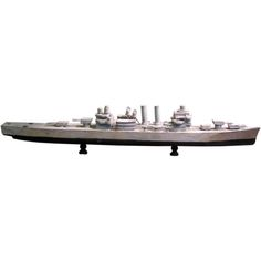 Folk Art Model of a Battleship  American  1950's  Handmade folk art model of a battle ship, original grey and black paint    Heir Antiques  617-216-0839  tyler@heirantiques.com  specializing in folk art, industrial, rustic modern, vintage lighting and victorian era curiosities