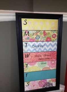 Framed Dry Erase Weekly Calendar Family by DesignCreateInspire