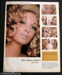Vintage 1968 Glamorous Blonde Putting on Merle Norman Cosmetics 60s Print Ad | eBay