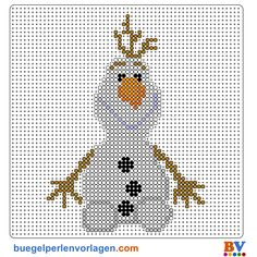 Frozen Die Eiskönigin Olaf Bügelperlen Vorlage - perler bead pattern. Totally doing this