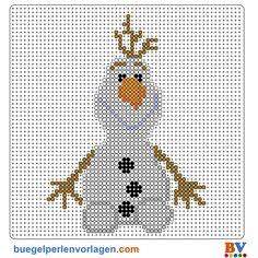 Frozen Die Eiskönigin Olaf Bügelperlen Vorlage - perler bead pattern