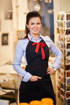 Specially designed aprons for Rode Giftshop&Cafe. Hotel Uniform, Restaurant Uniforms, First Class, Cafe Design, Bartender, Apron, Menu, Style, Fashion