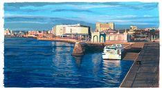 Santander, gouache Gouache, Landscapes, Watercolor, Portrait, Places, Illustration, Artists, Canvases, Ink