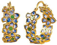 The Met Store - Azure Posy Hoop Earrings