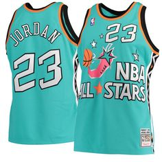 8adc2d0aa Men s Michael Jordan Mitchell   Ness Aqua 1996 NBA All-Star Game Hardwood  Classics Authentic