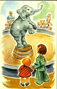 Barnekort med sirkusmotiv O. Melvold Utg Damm brukt 1948