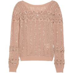 Emilio Pucci Embellished open-knit wool-blend sweater ($990) ❤ liked on Polyvore featuring tops, sweaters, shirts, jumpers, red sequin top, sequin shirt, beaded sweaters, red shirt and shirt sweater