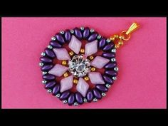 DIY | Perlen Ketten Anhänger mit Strass | Beaded pendant with twin beads and rhinestone | Beadwork - YouTube