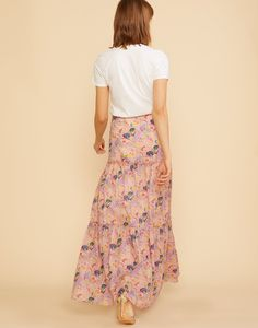 Back view of the lightweight marble printed cotton tiered skirt.