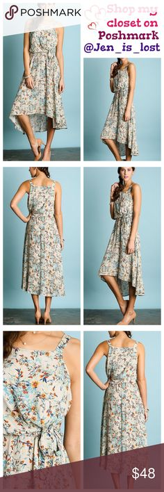 Floral Print Maxi Dress  Small Floral Print Maxi Dress  Sashed waist with elastic.  Color cream Fabric: COTTON BLEND  FIT: Woman's size Small (2-4). True to size.  No Trades ✅Reasonable Offers Are Considered✅ Use the blue offer button. Dresses Maxi