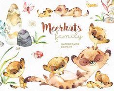 Buy Now Meerkats. Watercolor animals clipart little. Illustration Mignonne, Cute Illustration, Animals Watercolor, Clip Art, Cute Family, African Animals, Illustrations, Graphic, Savannah Chat