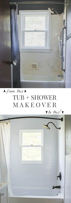 Follow along the makeover of this old farmhouse bathroom! This week, the tub and shower get a fresh, new look! (via LoveGrowsWild.com)