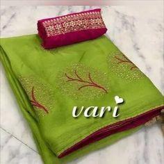 Embroidered Chiffon Sarees Price: ₹599 Feel free to call us on +91-7999219541 if you need any help with ordering online. Thank you. #ishaambani #tussarsaree #tussarsilksaree #prayaga #indianwear #jamdani Peach Color Saree, Green Saree, Peach Colors, Soft Silk Sarees, Chiffon Saree, Cotton Saree, Chiffon Fabric, Nauvari Saree, Designer Silk Sarees