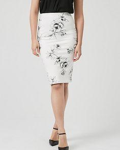 Floral Print Ponte Knit Pencil Skirt | LE CHÂTEAU Knit Pencil Skirt, Skirt Fashion, High Waisted Skirt, Floral Prints, Knitting, Skirts, Clothes, Politics, Style