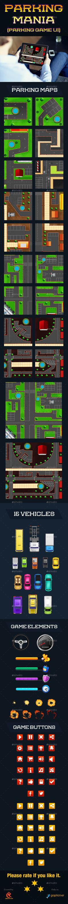 Parking Mania Car Game UI Template PSD, Transparent PNG, Vector EPS, AI Illustrator. Download here: http://graphicriver.net/item/parking-mania-car-game/14824258?ref=ksioks