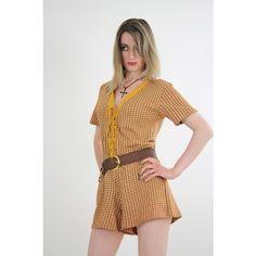 Vtg Vintage 60s romper playsuit plaid w grommets corset tie front... via Polyvore