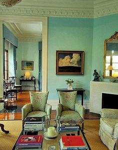 rather charming... Love the Tiffany blue walls!