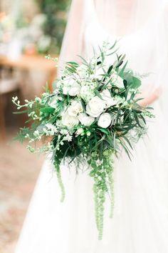Lush Organic White & Green Wedding Bouquet with Trailing Amaranthus | Sanshine Photography on /blovedblog/ via /aislesociety/