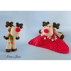 Reindeer and Moose Lovey and Amigurumi Crochet Patterns Pack by One and Two Company
