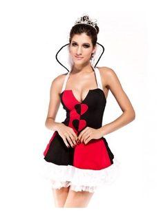 Amfancy Black Stand-Up Collar V-Neck Halter Queen Of Hearts Halloween Costume