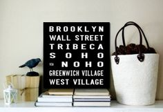 Brooklyn Square $22.00–$567.00 This is a modern version of the tram and bus destination scroll designs featuring many of New Yorks famous landmarks. This canvas print is Australian made using premium quality materials and is created to last.  http://www.canvasprintsaustralia.net.au/  #banksyprints #canvascollage #CanvaswallartAustraliahigh