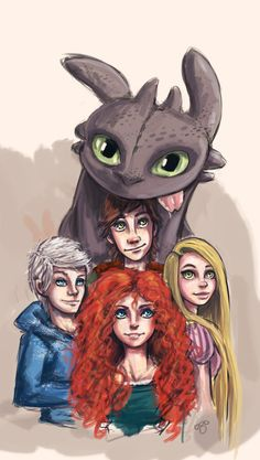 Rapunzel, Merida, Hiccup, and Jack Frost. It's like my soul sister made this, & she knew exactly who I loved... 0_o