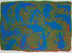 The designs in this print are of those sea animals, Miyapunu(turtle) and Guya(fish), that live in the salt water around the coastal region. © Buku-Larrnggay Mulka and the artists