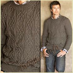 Пуловер с круглым вырезом (м) 290 Creations 10/11 Bergere de France №4670 Mens Knit Sweater, Cable Knit Sweaters, Ugly Sweater, Knitting Designs, Men Dress, Knitwear, Creations, Clothes, Hoodie