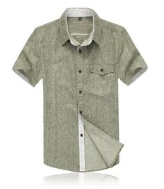 Men Casual Linen Shirts, Short Sleeve Fashion Shirts Plus Size S-4XL