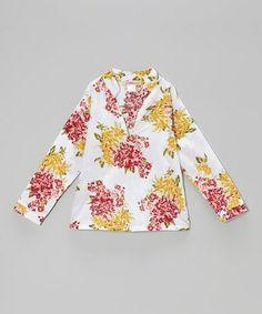 White & Red Floral V-Neck Top - Toddler & Girls by Paulinie #zulilyfinds