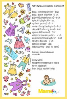 Wyprawka jesienna dla noworodka lista do druku Baby Time, Diy And Crafts, Kids, Young Children, Boys, Children, Boy Babies, Child, Kids Part