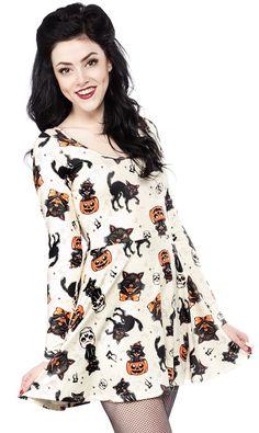 SOURPUSS BLACK CATS SKATER DRESS http://www.sourpussclothing.com/gals/dresses/sourpuss-black-cats-skater-dress.html