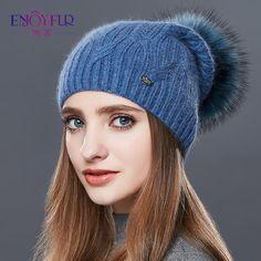 Aliexpress.com : Buy  ENJOYFUR High Quality Cashmere Women Winter Hats Fashion Link Type Knitted Hat Female Girl Autumn Fur Fur Pompoms Beanies 2017 from Reliable fur pompom beanie suppliers on Enjoy fur Co.,Ltd