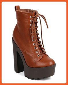 Breckelles DC29 Women Leatherette Lace Up Lug Sole Platform Combat Boot - Tan (Size: 10) - Boots for women (*Amazon Partner-Link)