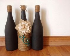#52craftyprojects 16/52 - Jute & chalk painted wine bottles