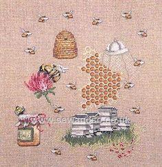 Buy Bees Make Honey Sampler Cross Stitch Kit Online at www.sewandso.co.uk