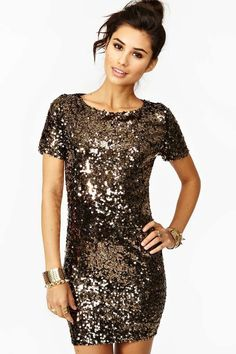 I love this color. -- Sparkly dark gold sequined cocktail dress