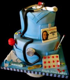 Nursing Grad 2 tiered graduation cake for RN. All edible materials. Accents are sculpted using gumpaste and fondant. Unique Cakes, Creative Cakes, Pretty Cakes, Cute Cakes, Nursing Graduation Cakes, Graduation Ideas, Cakepops, Amazing Cakes, Beautiful Cakes