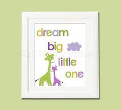 Giraffe nursery Art Print Dream Big Little One by SugarInspire