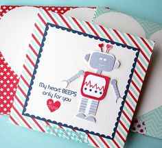My Heart Beeps Card by Danielle Flanders for Papertrey Ink (December 2014)